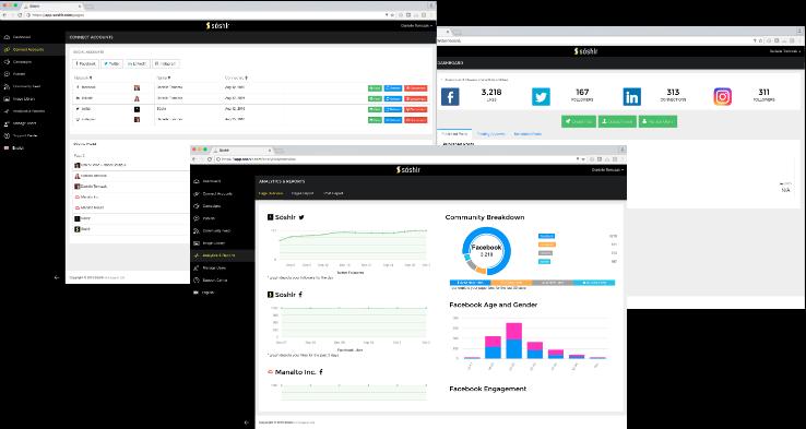 Screenshots of Soshlr user interface